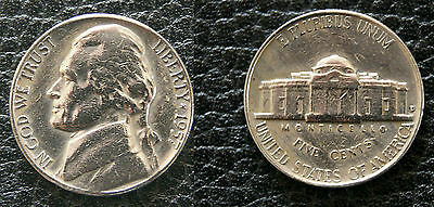 USA D Stamped 5 1957 Five Cent Coin - Good circulated condition