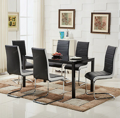 Glass Top Black Dining Table with 6 Chairs Set Stylish Black White Sides Chrome