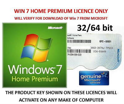 Win 7 Home Premium 32 or 64bit Product Key Label + Download Win 7 from Microsoft