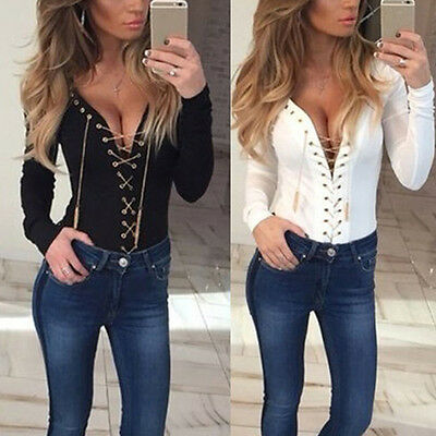Black Lace-Up Long Sleeve Casual Tops Blouse T-Shirt Women Shirt Ladies V Neck