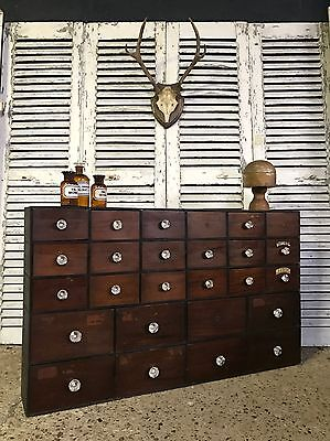 Superb Antique Haberdashery Apothecary Chemist Bank Of Drawers Cabinet