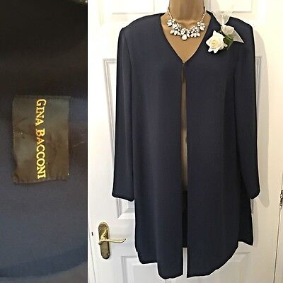 GINA BACCONI JACKET COAT SIZE 14/16 Navy Evening Occasion, Mother Of The Bride
