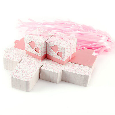 100 Love Heart Wedding Favour Candy Boxes Party Gift Boxes With Ribbons PINK
