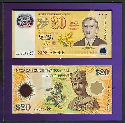Singapore Brunei $20 2007 Commemorative polymer set in folder, UNC