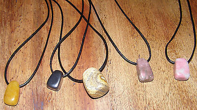 SALE!!!! 5 x Gemstone Pendants with leather necklace   Brand NEW Wholesale