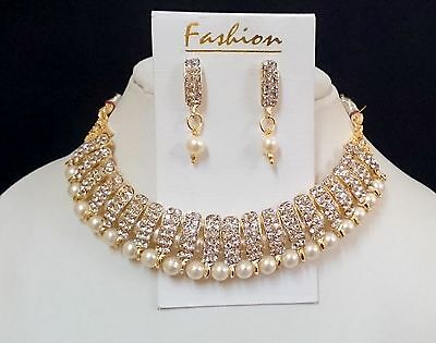 3 Pc Indian Bollywood Pearl Diamante Necklace Earring Sets, Fashion Jewelry