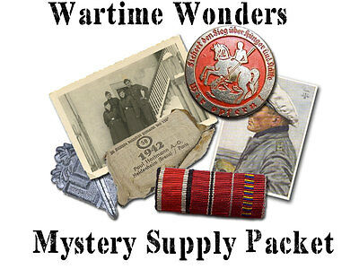 WW2 German Mystery Item Packet - Photos, Medals, Badges, Postcards