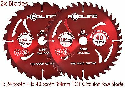 "2x 185mm/7-1/4"" TCT Circular Saw Blade 24+40 teeth wood cutting tungsten carbide"