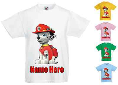 Childrens Kids Personalised Printed T-Shirt Various Colours Paw Patrol Marshall