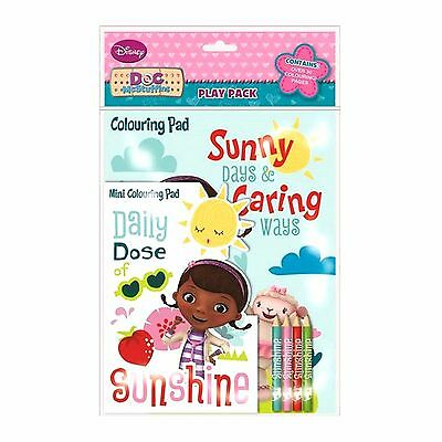 Doc McStuffins Play Pack Girls Colouring Set Travel Pack Pencil Crayons Mini Pad