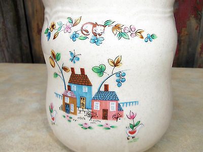 "Vintage 8 3/4"" Sugar Canister Heartland International China Stoneware Farmhouse"