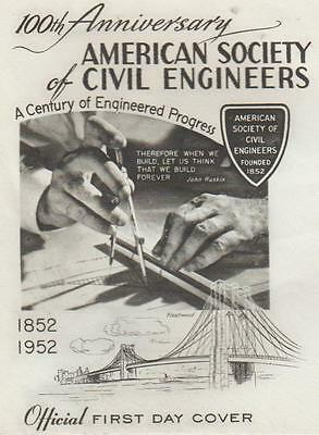 First day of issue 1952, American Society of Engineers, Fleetwood, Scott# 1012