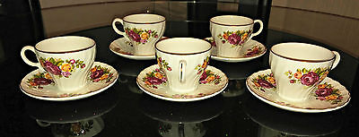 Wood and Sons England Cottage Rose Ironstone 1 Set Tea Cup and Saucer