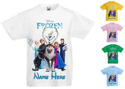 Childrens Kids Personalised Printed T-Shirt Various Colours - Disney Frozen