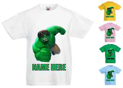Childrens Kids Personalised Printed T-Shirt Various Colours - Lego Hulk
