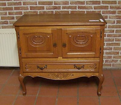 Louis Xv Style Vintage French Carved Oak 2 Door/1 Drawer Side Cabinet  (030080)