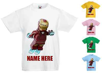 Childrens Kids Personalised Printed T-Shirt Various Colours - Lego Ironman