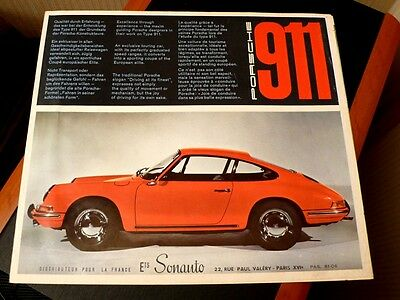 Authentique brochure Porsche 911 du 8.65 (1965) officiel SONAUTO