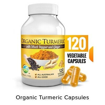 Nature's Help Organic Turmeric (Curcumin)  with Black Pepper and Ginger 120 VCap