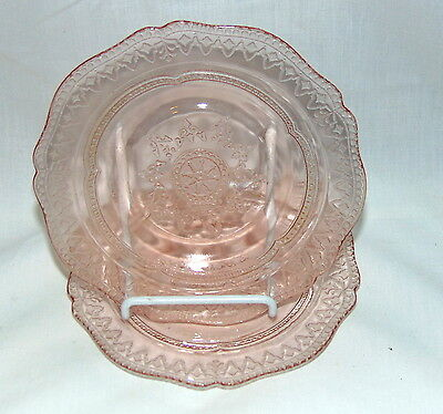 "2 Federal PATRICIAN PINK *6"" SHERBET/DESSERT PLATES*"