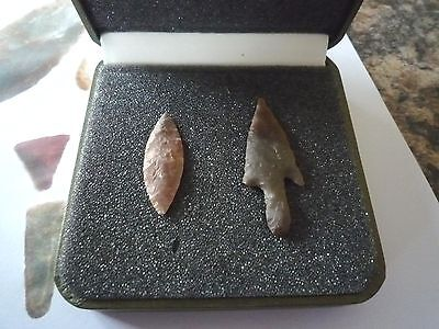 2 x Quality Neolithic Arrowheads in Display Case - 4000BC (X010)