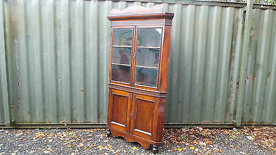 Large Antique Victorian Mahogany Corner Bookcase Display Cabinet - c.1870 • £125.00