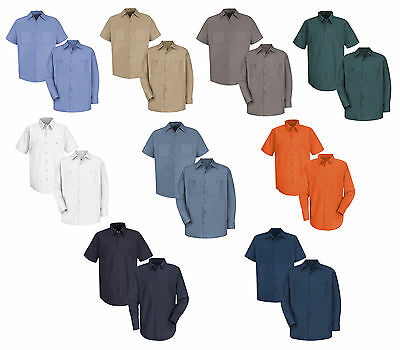 Red Kap Men Industrial 100% Cotton Work Shirt - MANY COLORS Irregular New