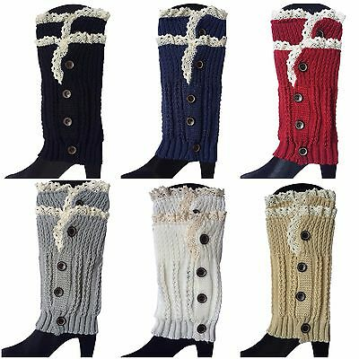 Button Down Lace Trim Boot Socks Cuffs Toppers Crochet Knitted Short Leg Warmers