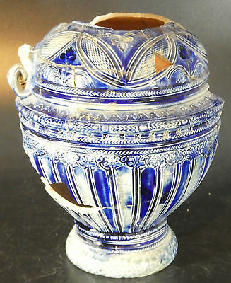 Large 16th century pottery stoneware Raeren Jug blue and white