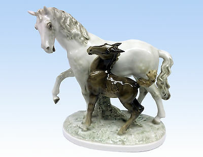 Hutschenreuther Porcelain Horse And Foal Figurine, Us Zone Germany