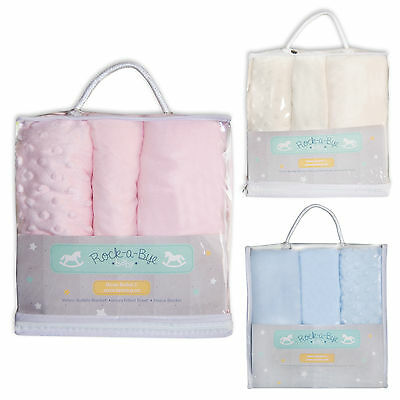3 Piece Baby Bedding Set Moses Basket Fitted Sheet / Bubble and Fleece Blanket