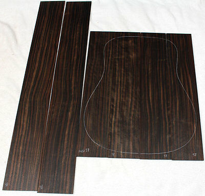 Macassar ebony 4 piece back and 2-pc side dreadnought acoustic guitar set MED38