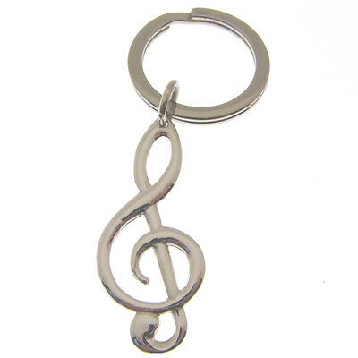 Silver Musical Treble Clef Keyring.  Hallmarked Sterling Silver Music Key Ring