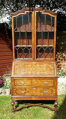 Antique edwardian bureau book case queen Ann burr walnut shelves cupboard drawer