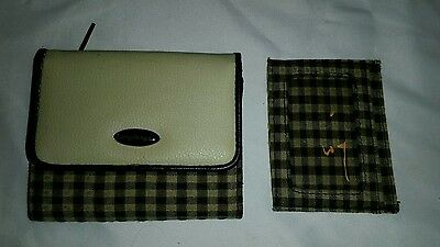 ☆☆ Longaberger Khaki Check SMALL WALLET & ID CASE Hard-to-Find FREE SHIPPING