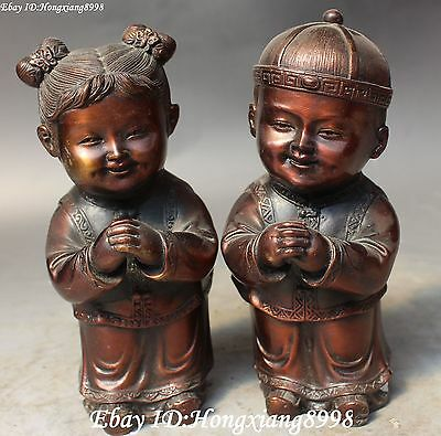 Excellent Old Chinese Bronze Tong Boys Tong Girls Maidens Girls Kid Kids Statue