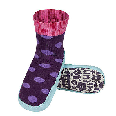 Infant & Junior Unisex Purple Spots Moccasin Knitted Leather Sole Slipper Socks