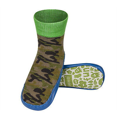 Infant & Junior Boys Camouflage Moccasin Knitted Leather Sole Slipper Socks