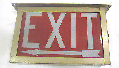 Vintage Industrial Commercial Electric Glass Double Face  Exit Sign