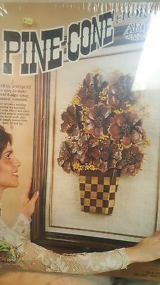 Vintage Pine Cone Floral Art Kit by Open Door 1978 NIB Sealed Picture On Burlap