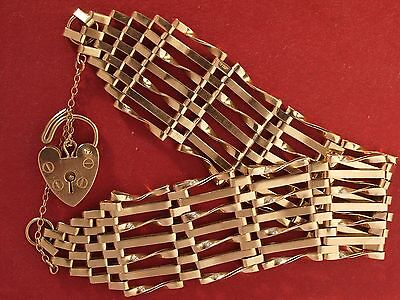 9ct Yellow Gold 7 Gate Bracelet with Heart Padlock
