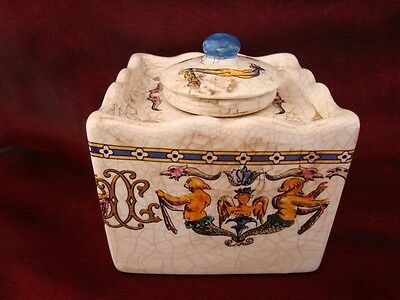 Inkwell Office Renaissance Style Porcelain Crackleware Ceramic