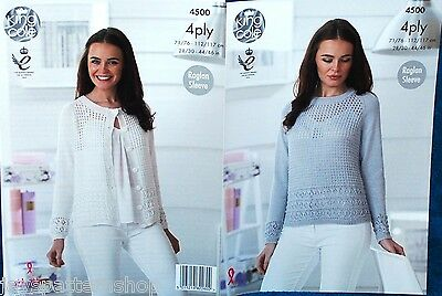 Ladies 4 Ply Knit Lacy Sweater & Cardigan Knitting Pattern 28 - 46 Inch