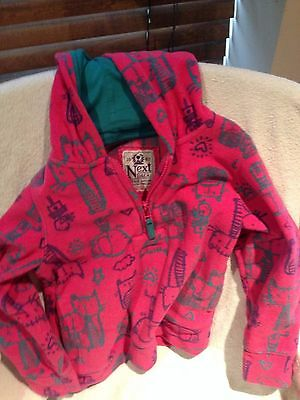 Girls Pink Fleece Hoodie by Next Age 6