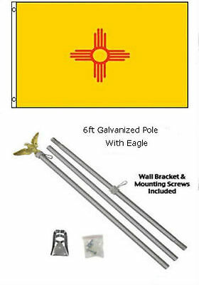 2x3 2'x3' State of New Mexico Flag Galvanized Pole Kit Eagle Top