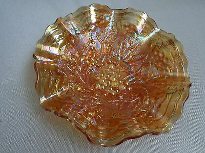 Carnival Imperial marigold 'Grape design' glass bowl-dish with ruffled edge.
