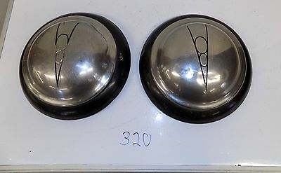 Old Vintage Reproduction Ford V 8 Painted Hub Caps Painted Black