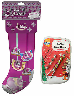 Whiskas Xmas Cat Stocking with Cat Treats & Wobbly Ball Toy & Armitage Festive L