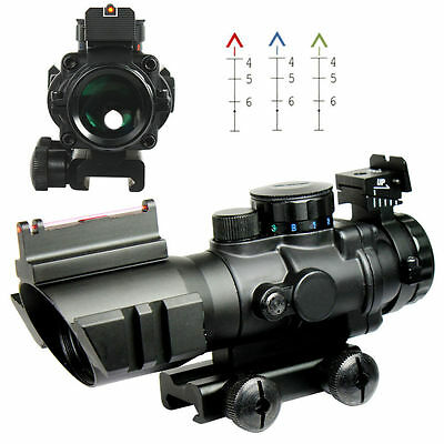 Tactical Prismatic 4x32 Rifle Scope Crosshair Fiber Optic Sight w/Mount & Rings