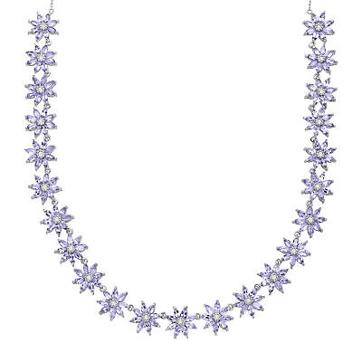 11 ct Natural Tanzanite & Natural White Topaz Floral Necklace in Sterling Silver